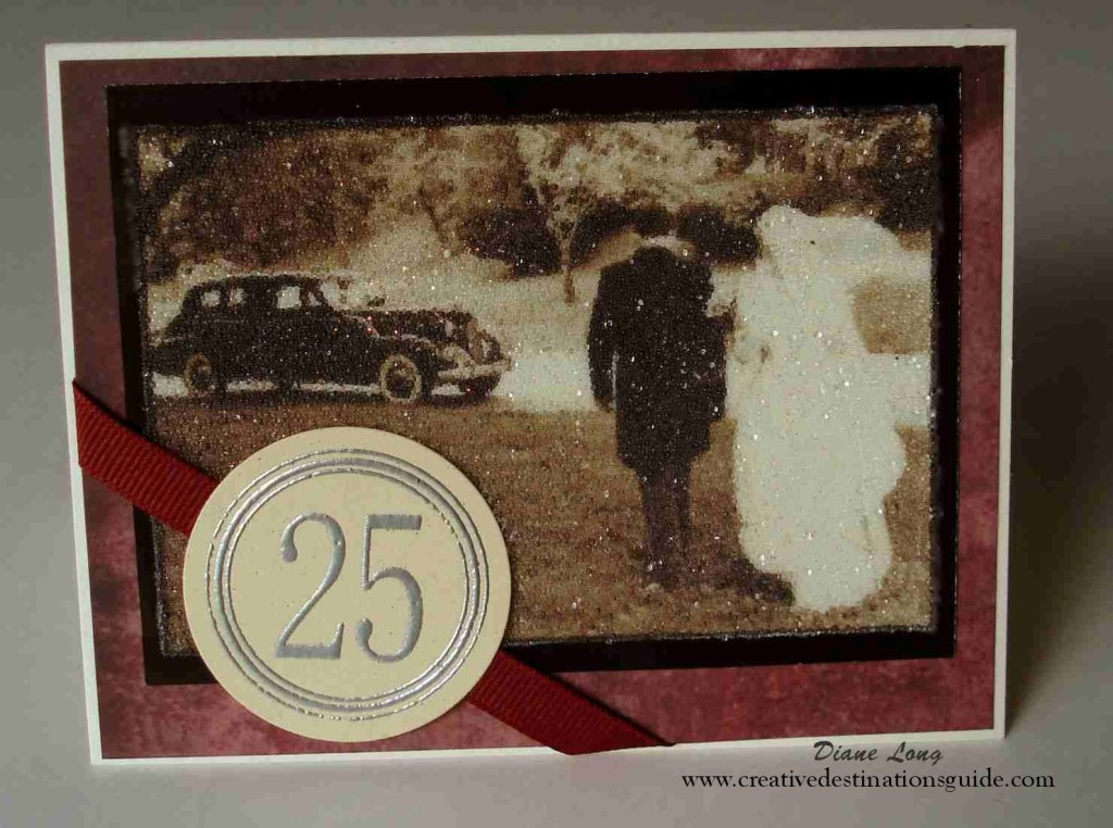 Beaded 25th anniversary card
