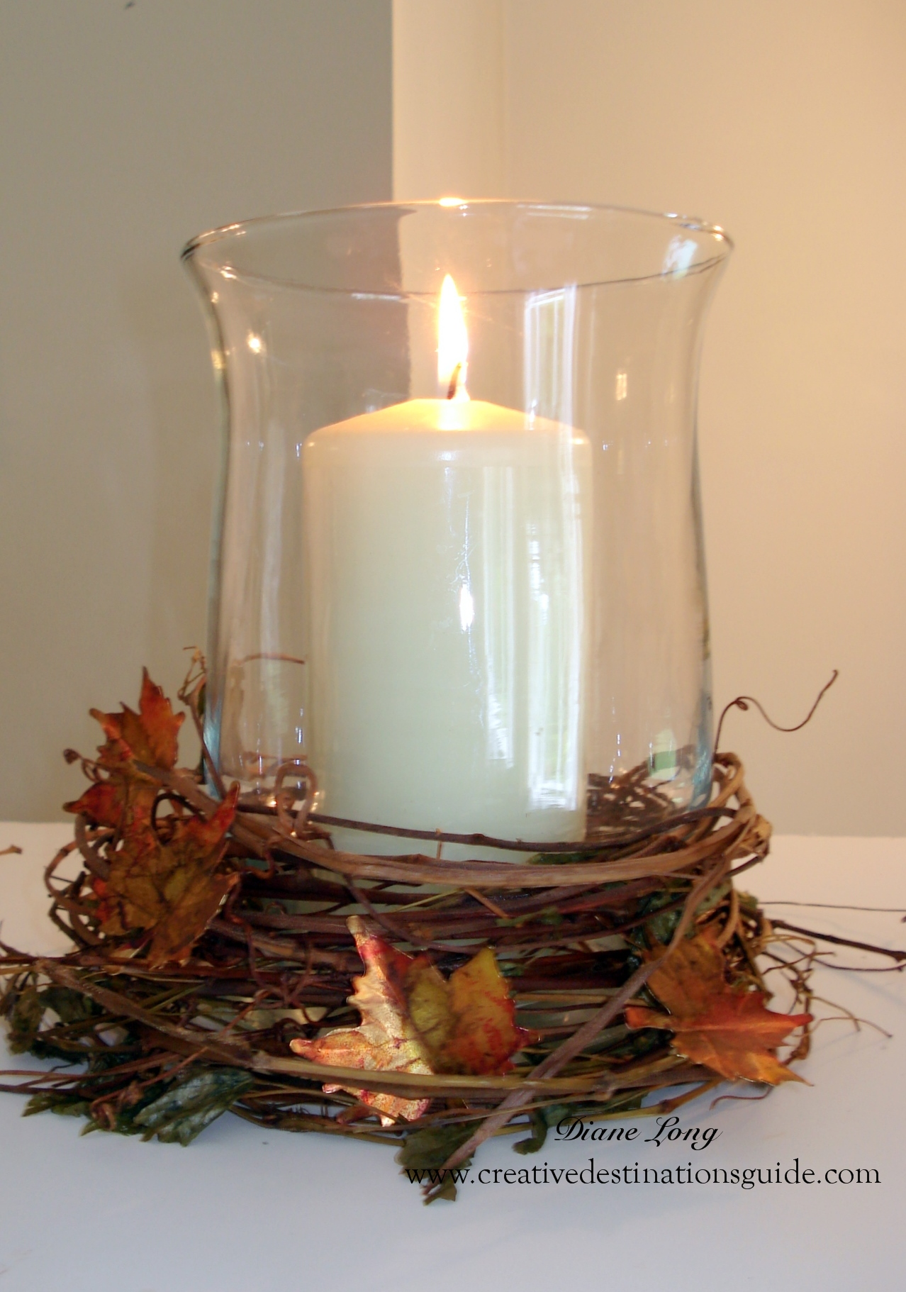 Metal Fall Leaf Candle