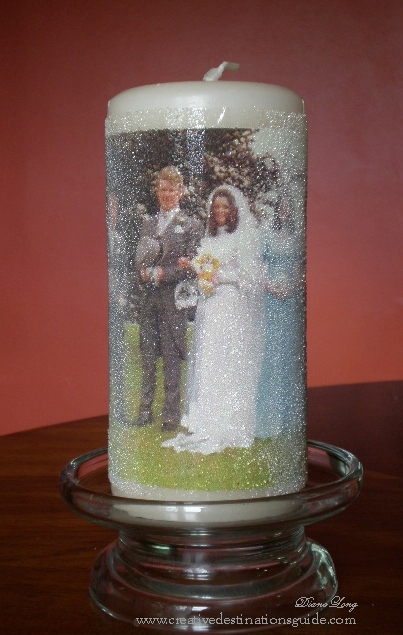 beaded photo candle