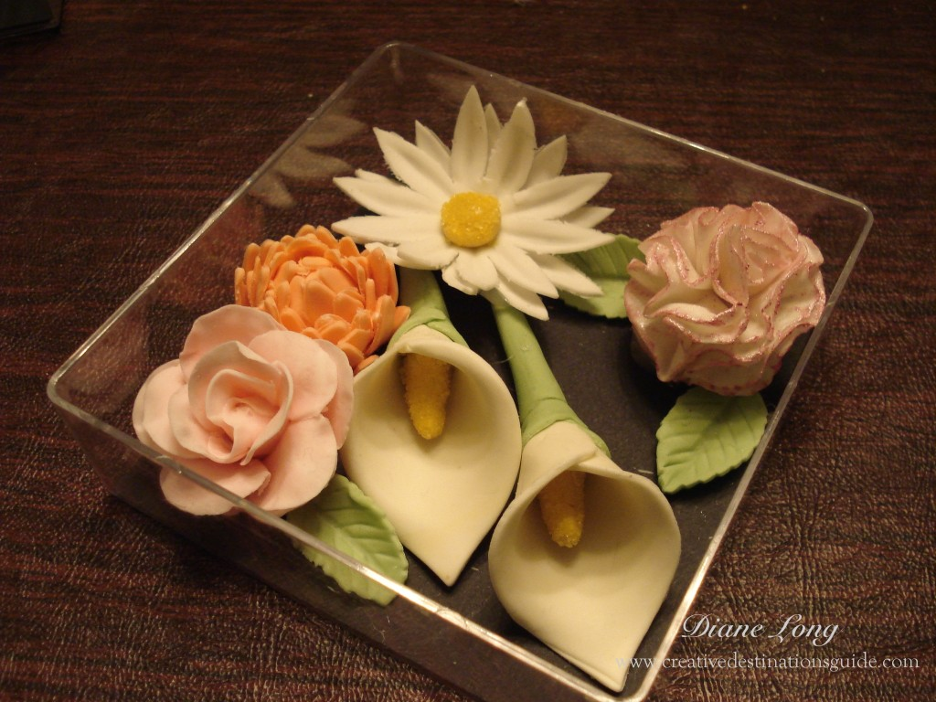 Flowers made of icing