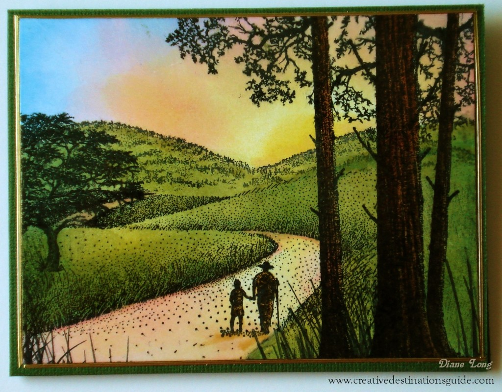 Stamped Scene Sunrise Card